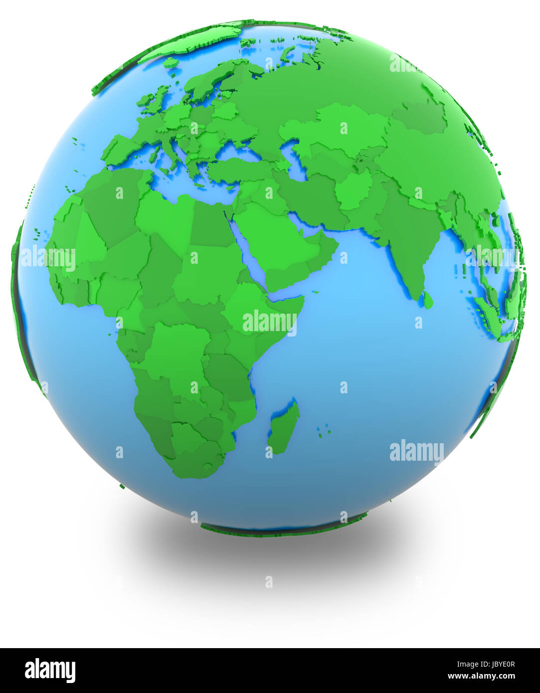 World Map Hemispheres Countries. Western hemisphere  political map of the world with countries in different shades green isolated on white background
