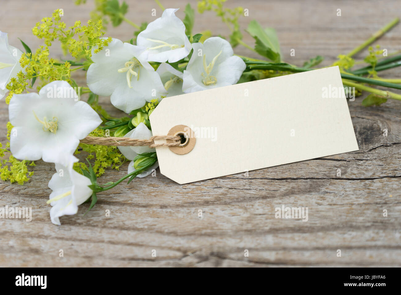 White bell flowers ladys mantle and card stock photo royalty free stock photo white bell flowers ladys mantle and card mightylinksfo Choice Image