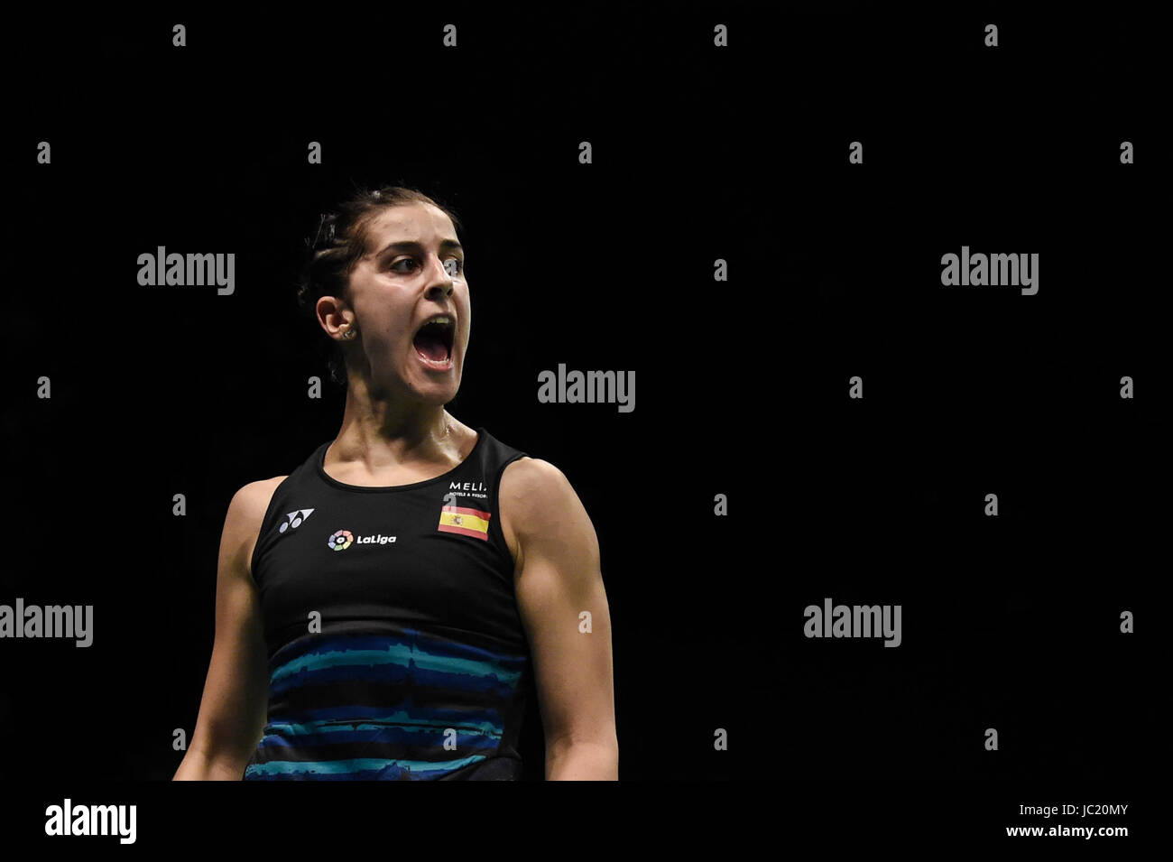 Jakarta Jakarta 13th June 2017 Spain s Carolina Marin reacts