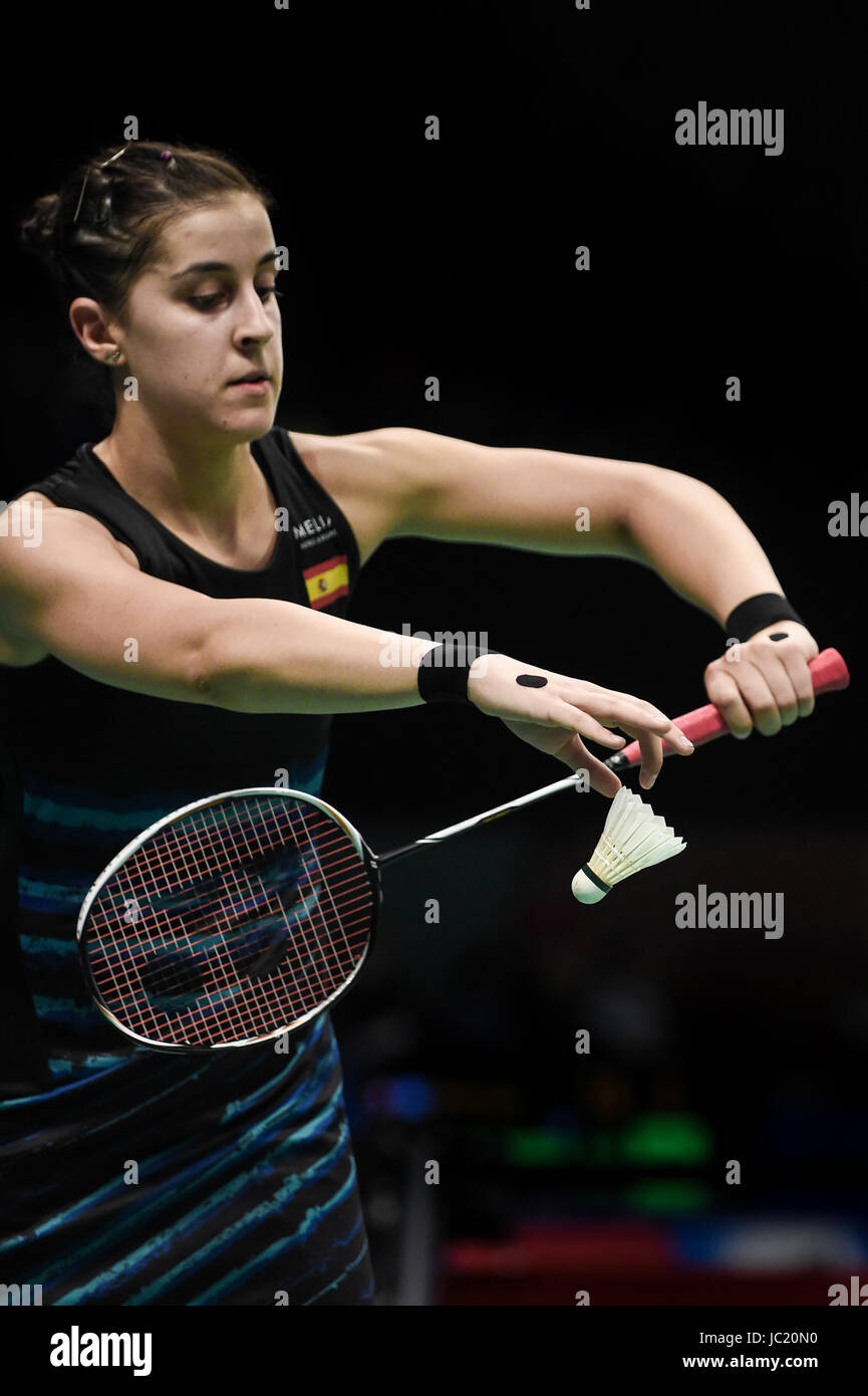 Jakarta Jakarta 13th June 2017 Spain s Carolina Marin serves