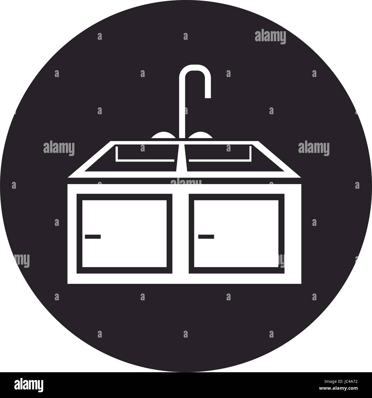 kitchen sink with drying rack furniture Stock Vector Art ...