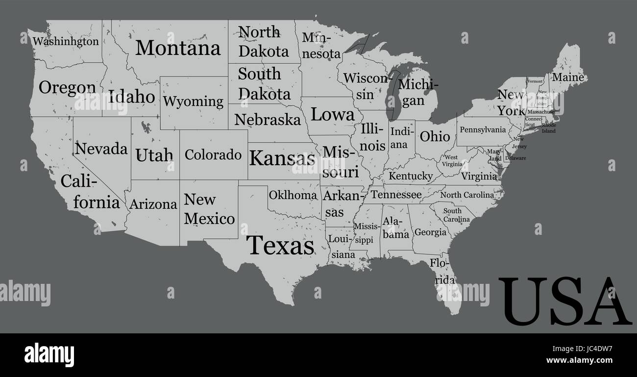 blank similar high detailed usa map isolated on gray background united states of america country with state names inscriptions vector template infog
