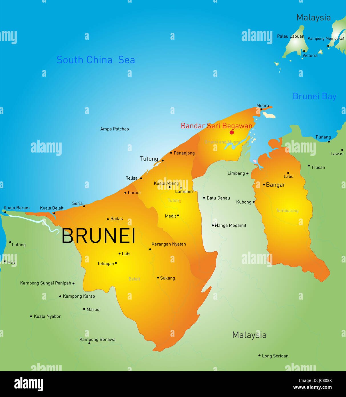 Vector Color Map Of Brunei Country Stock Photo Royalty Free Image - Brunei map