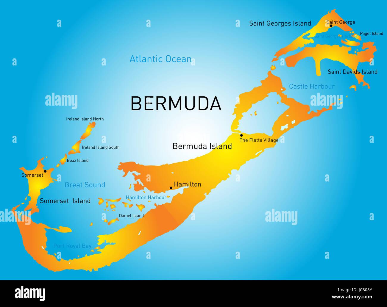 Vector map of Bermuda region Stock Photo