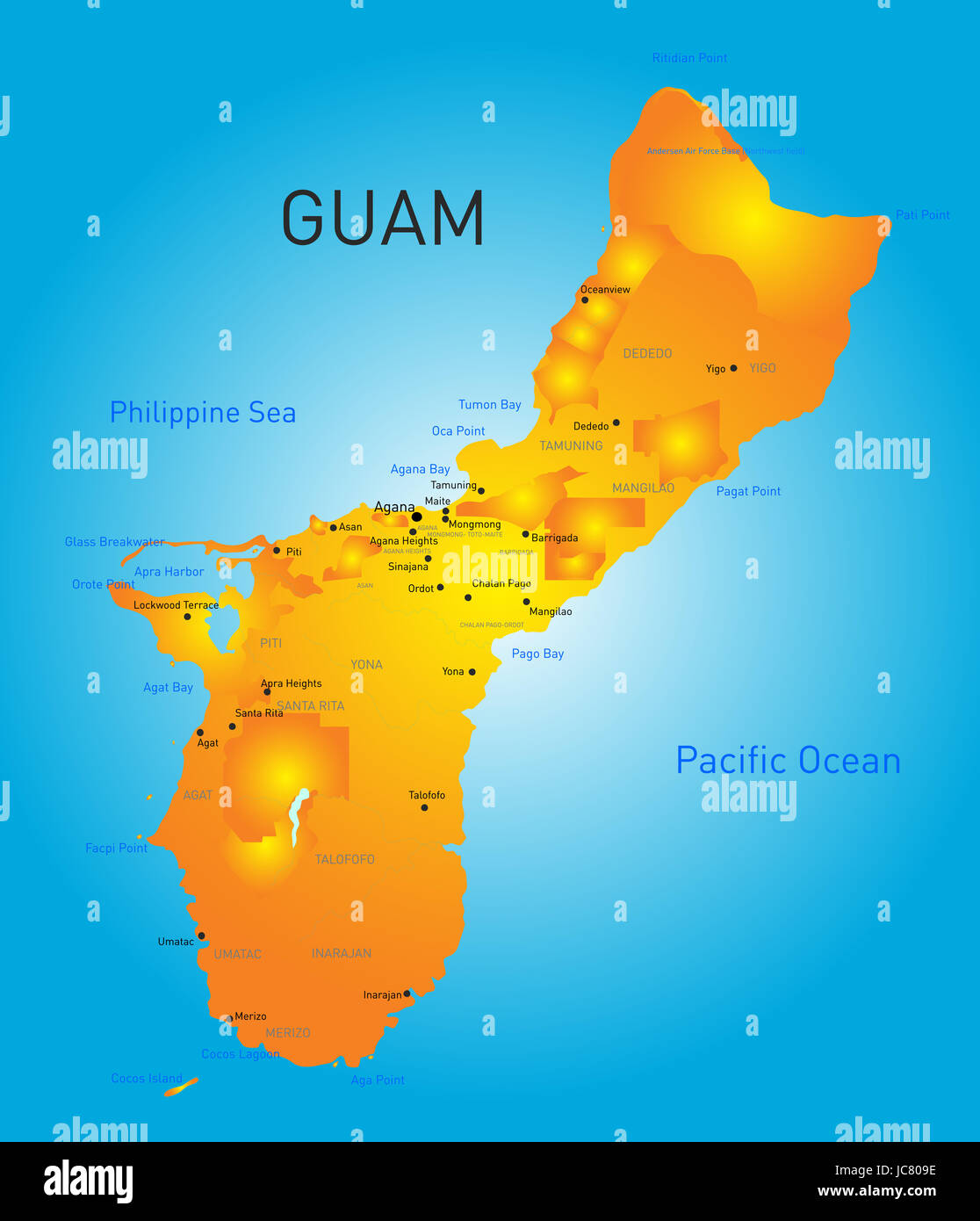 Guam Country Vector Color Map Stock Photo Royalty Free Image - Guam map
