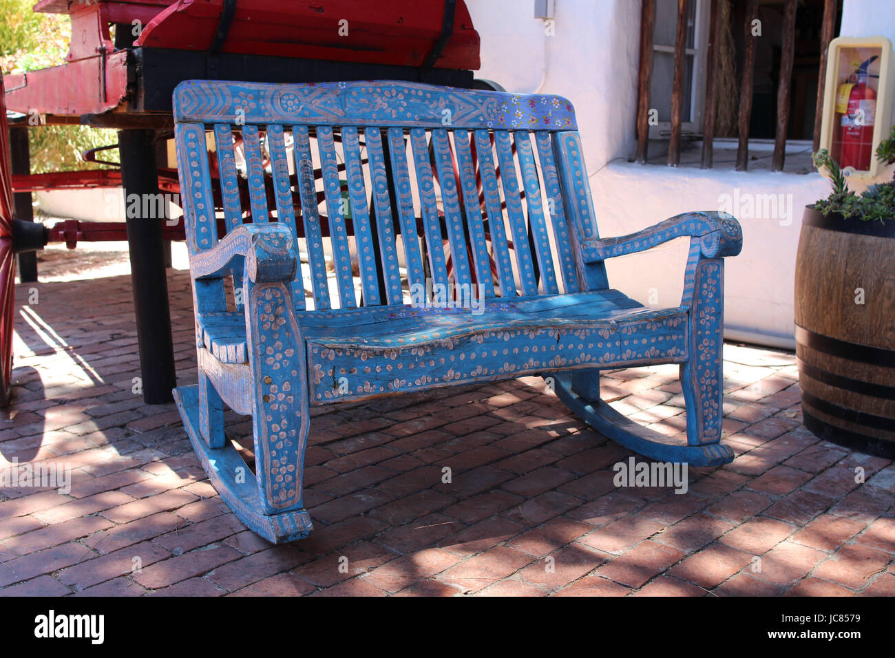 A Hand Crafted Mexican Bench. Old Wood Carved And Painted Rustic Bench. Old  Town Market, San Diego, California USA