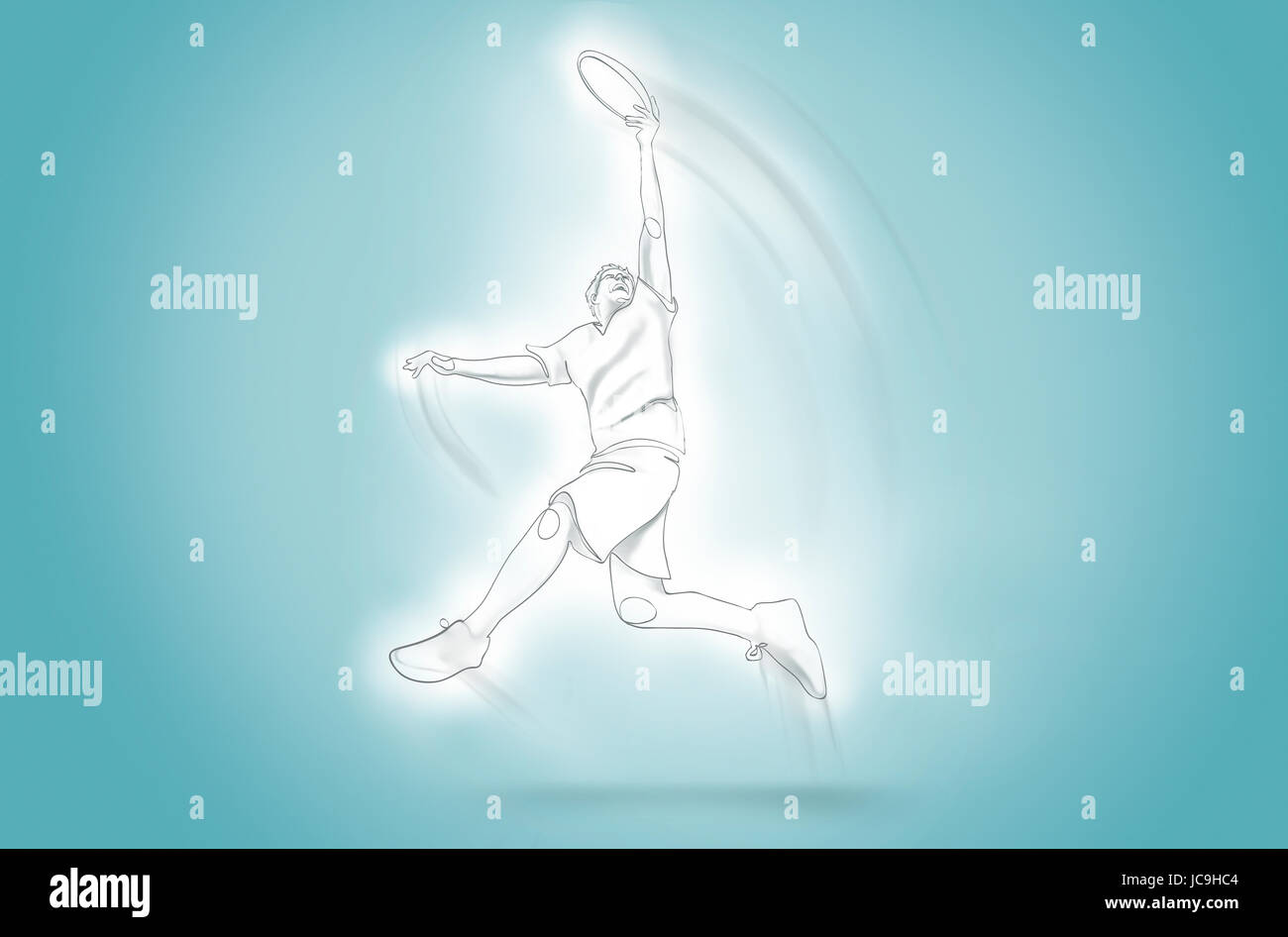 One Line Art Animation : Man jump catches frisbee one line art stock photo royalty free