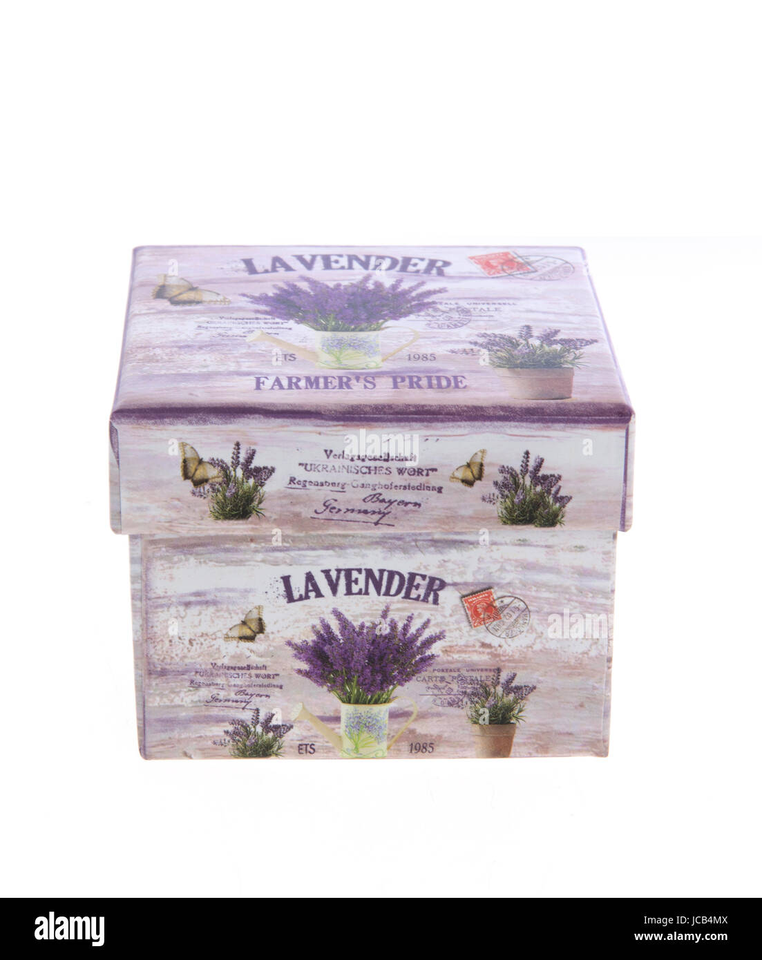 Nice jewelry box with lavender decoration isolated on white Stock