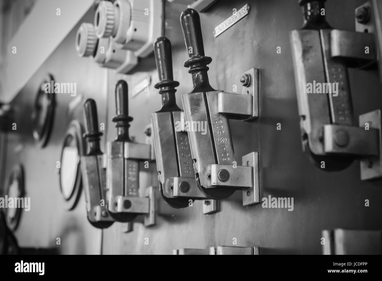 control panel machine with levers in a factory Stock Photo ...