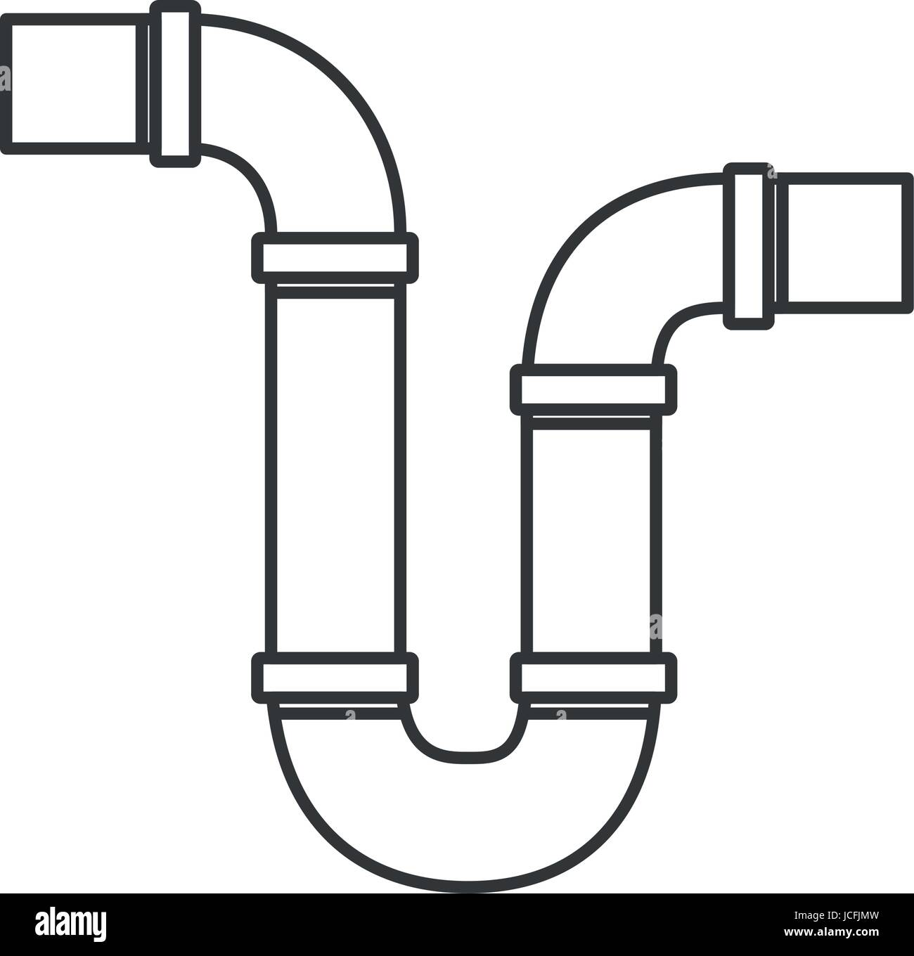 Kitchen Faucet Wrench Monochrome Silhouette Of Drain Pipe Siphon Stock Vector