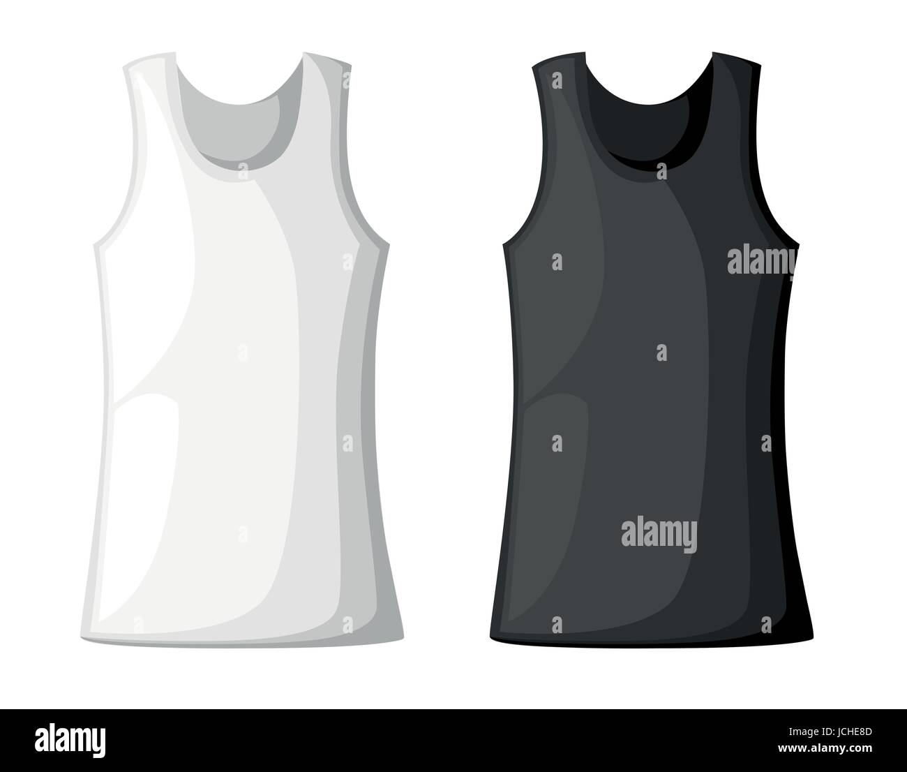 Vector illustration with realistic male shirt template womans vector illustration with realistic male shirt template womans white sleeveless tank top in front and back views mock up for prints or logo design pronofoot35fo Images