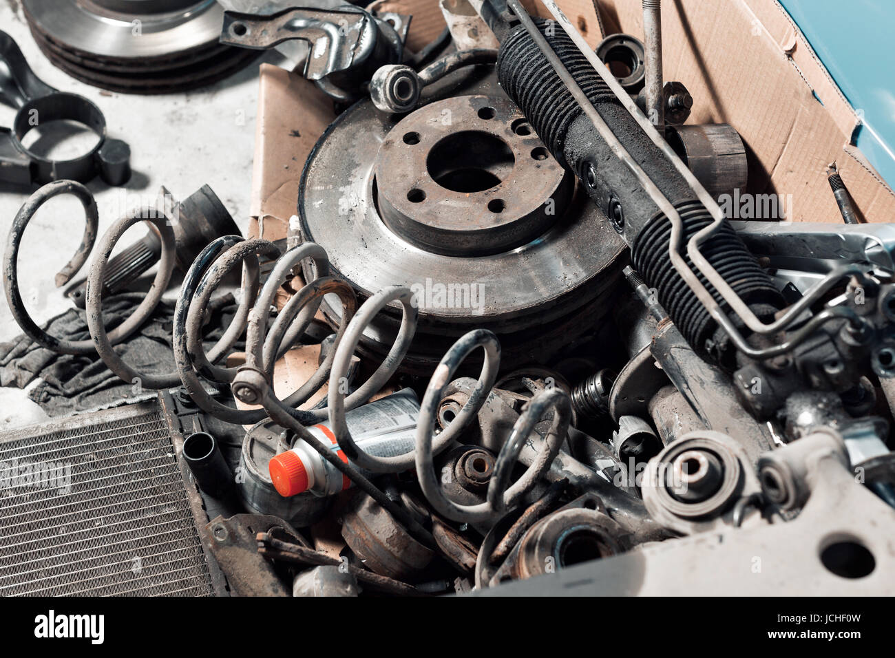 lot old car spare parts in service garage Stock Photo: 145443785 ...