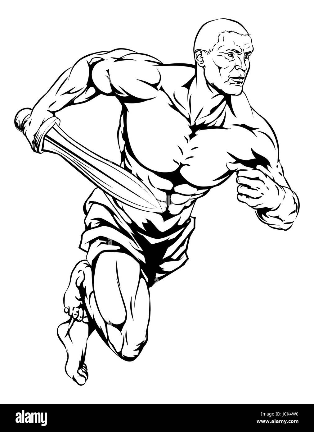 an illustration of a warrior or gladiator character or