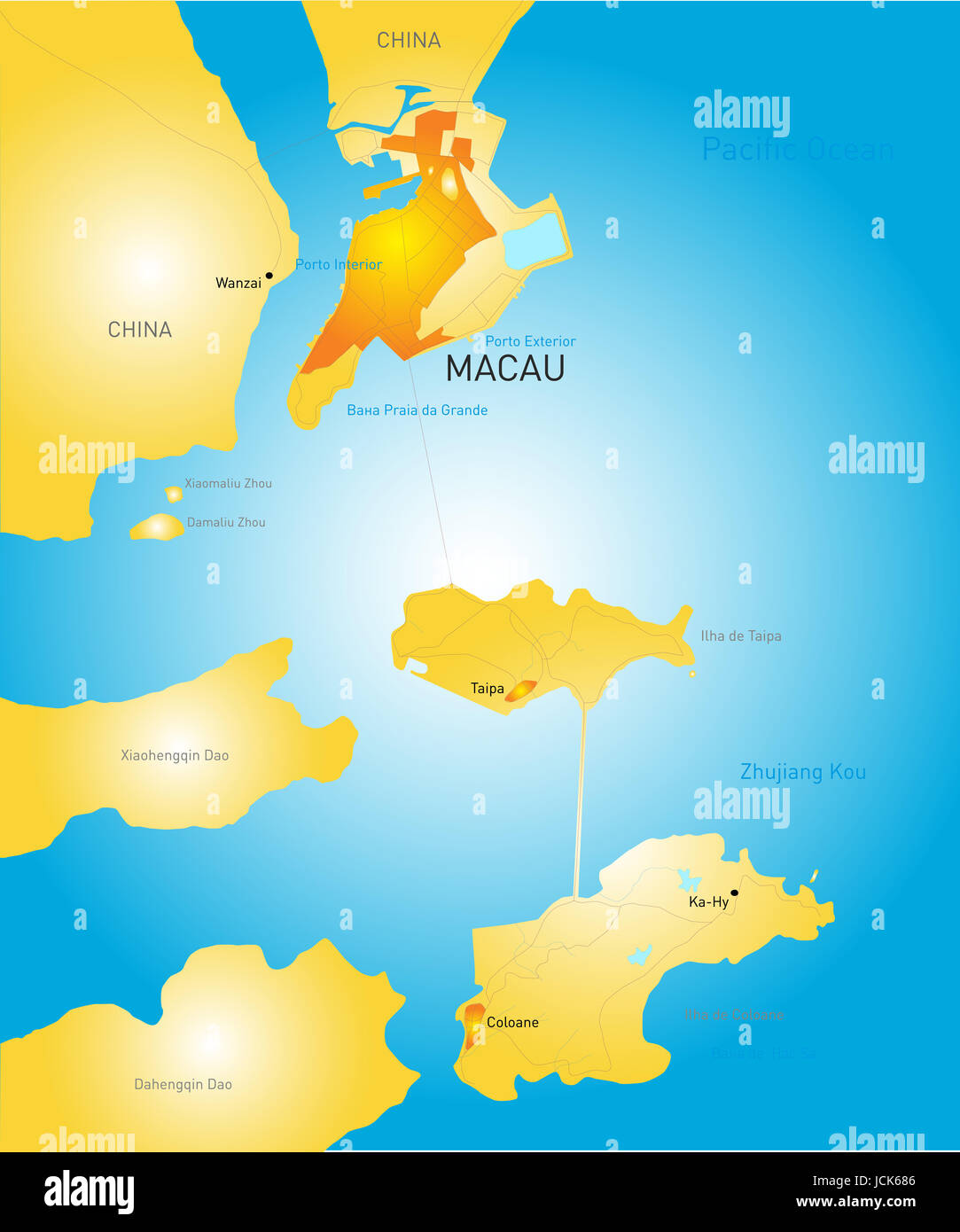 Vector color Macau administrative map Stock Photo Royalty Free