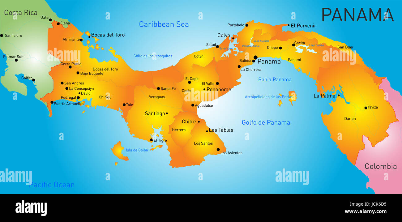 Vector Color Map Of Panama Country Stock Photo Royalty Free Image - Panama map vector