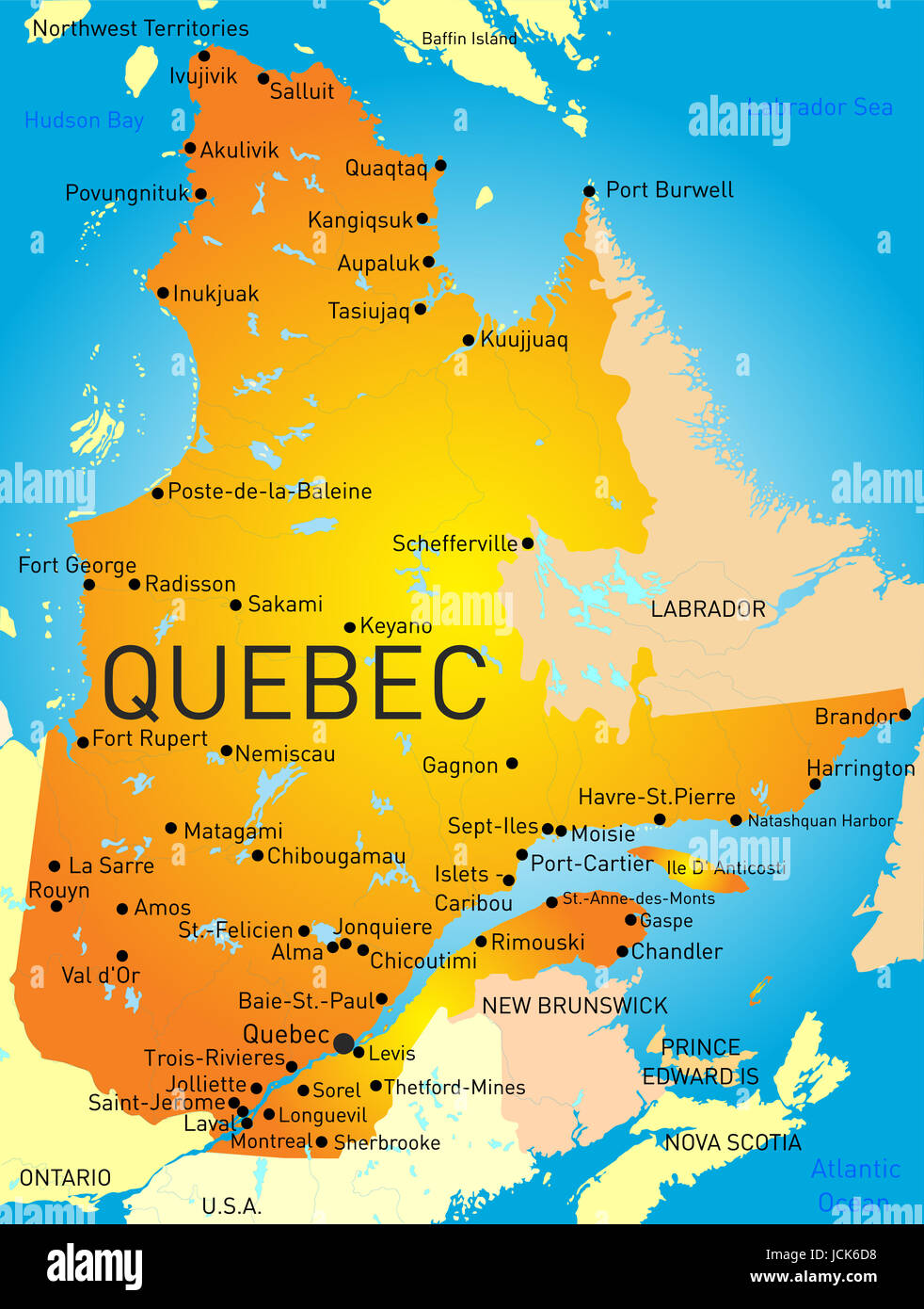 vector color map of quebec province. vector color map of quebec province stock photo royalty free