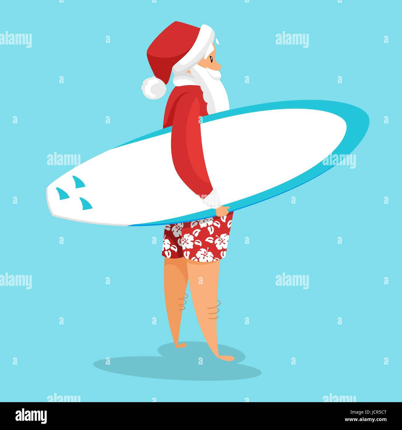 Vector cartoon style illustration of santa surfer holiday vector cartoon style illustration of santa surfer holiday greeting card template isolated on blue background kristyandbryce Image collections