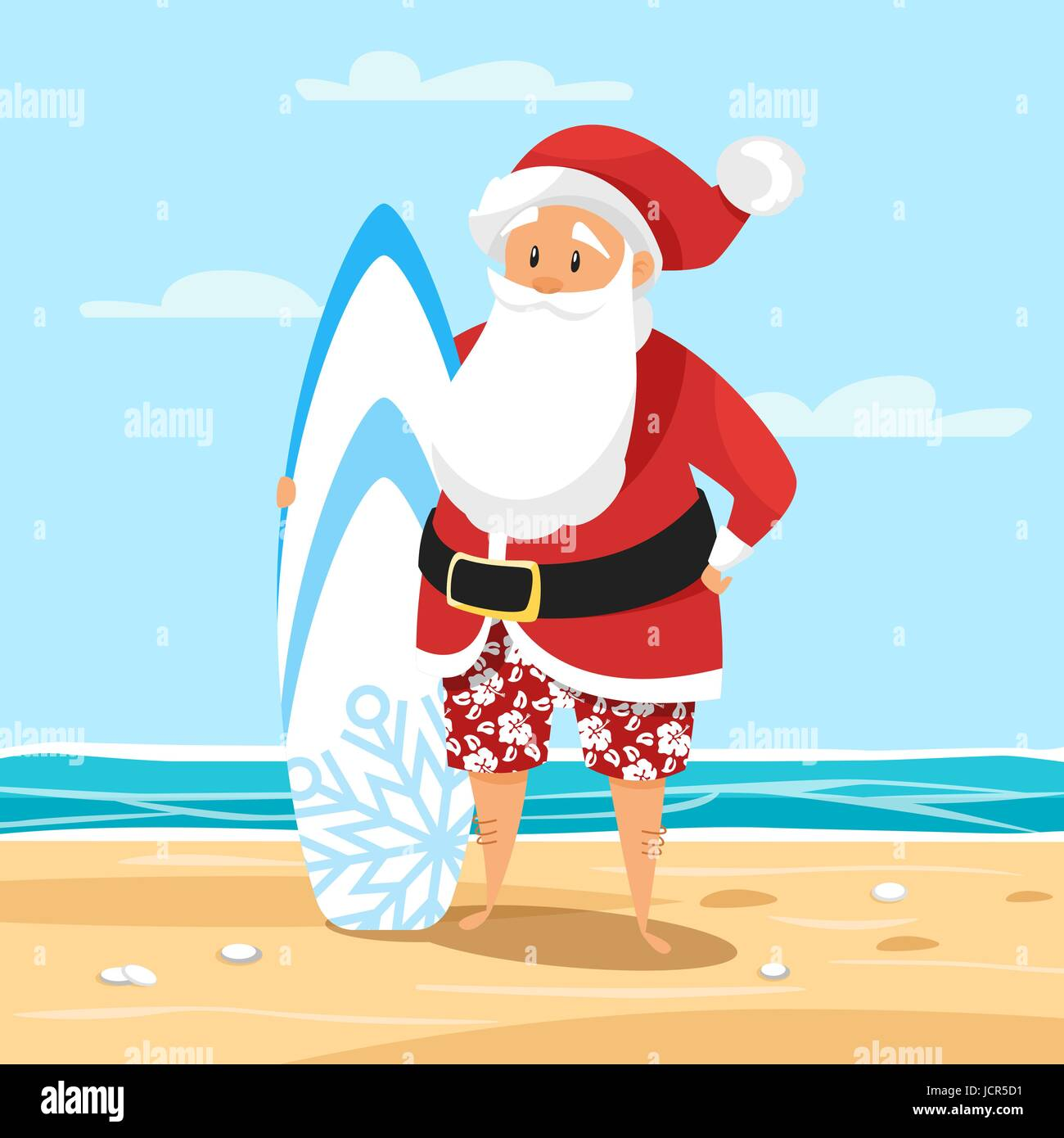 Vector cartoon style illustration of santa surfer holiday vector cartoon style illustration of santa surfer holiday greeting card template kristyandbryce Image collections