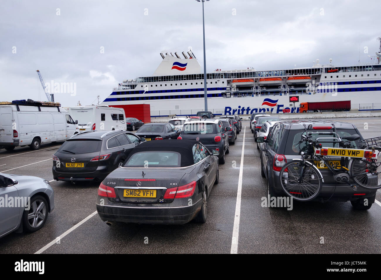Vehicles Queueing Waiting To Board Brittany Ferries Cap Finistere