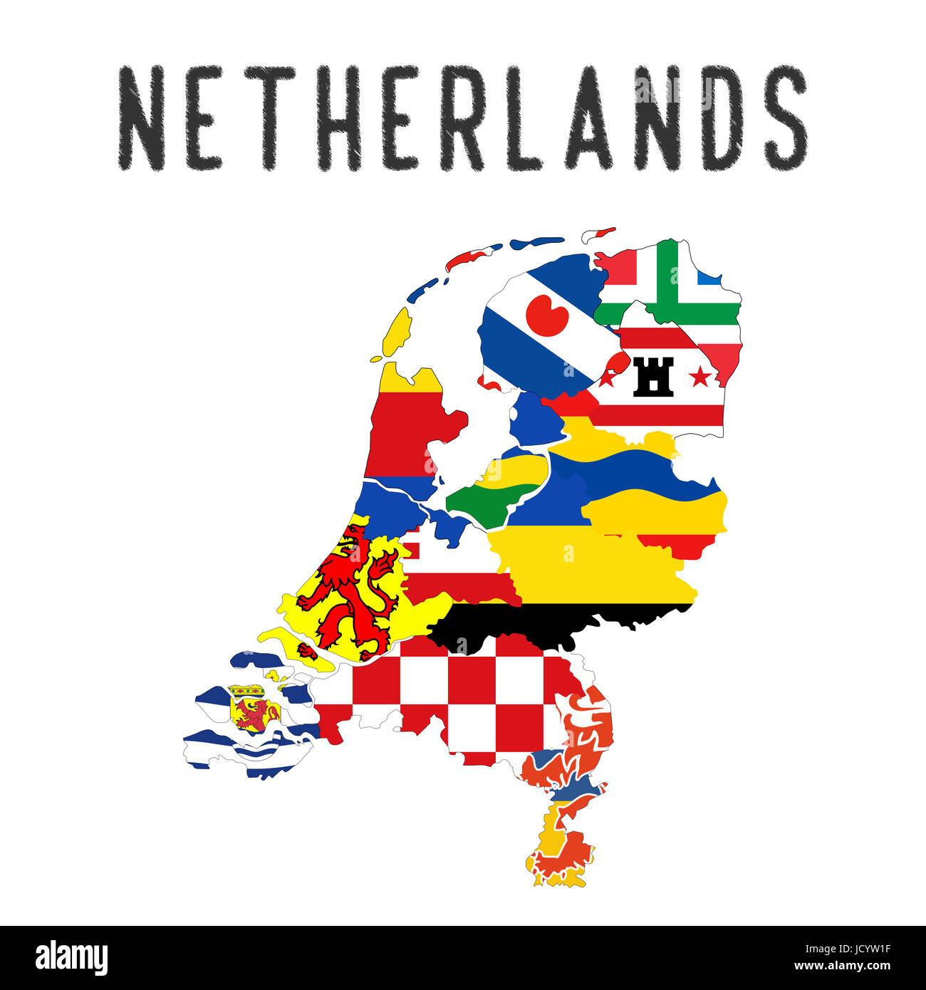 Netherlands country regions province flag map illustration Stock