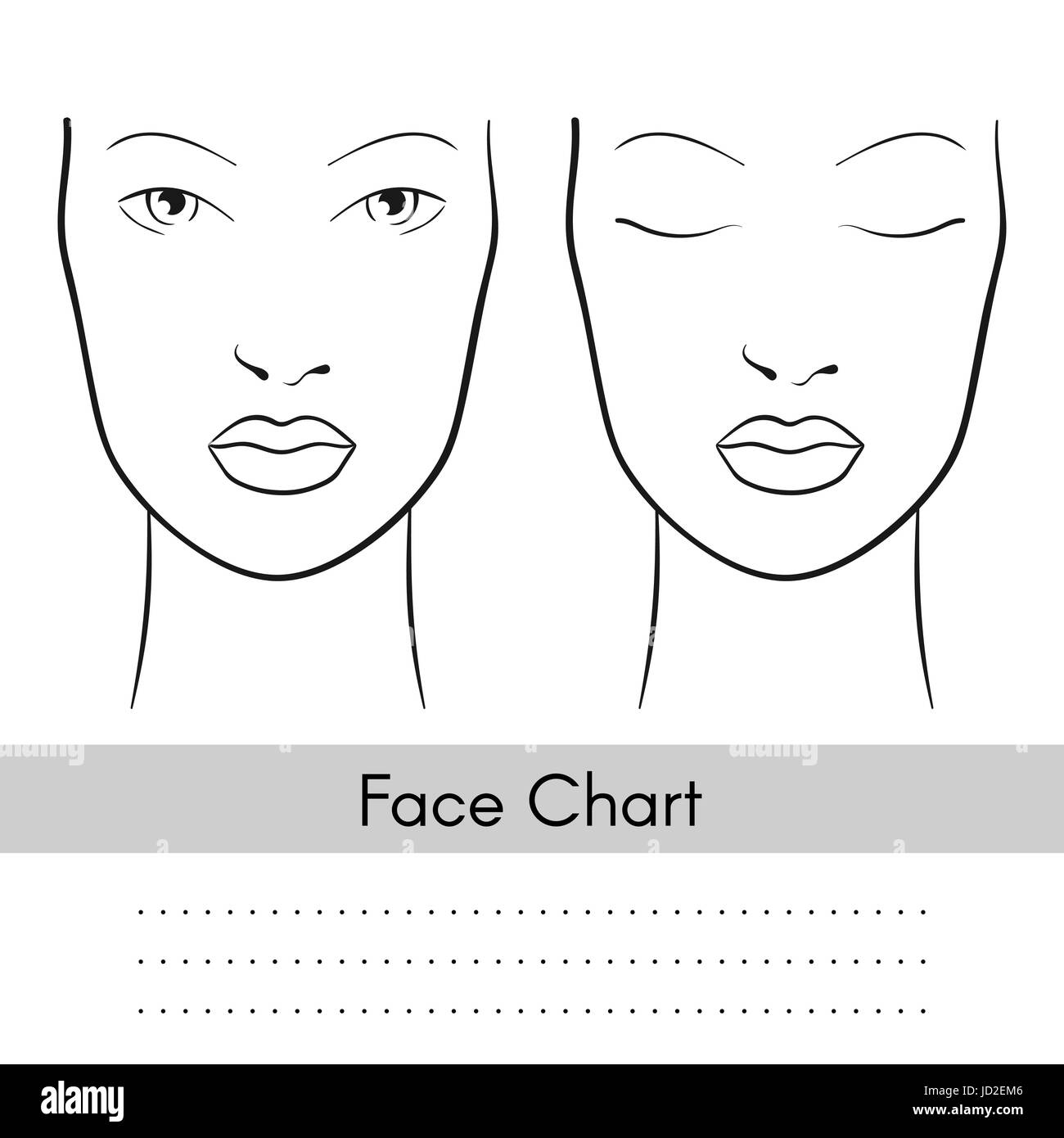 Vector beautiful woman face chart portrait female face with open vector beautiful woman face chart portrait female face with open and closed eyes blank template for artist makeup pronofoot35fo Gallery