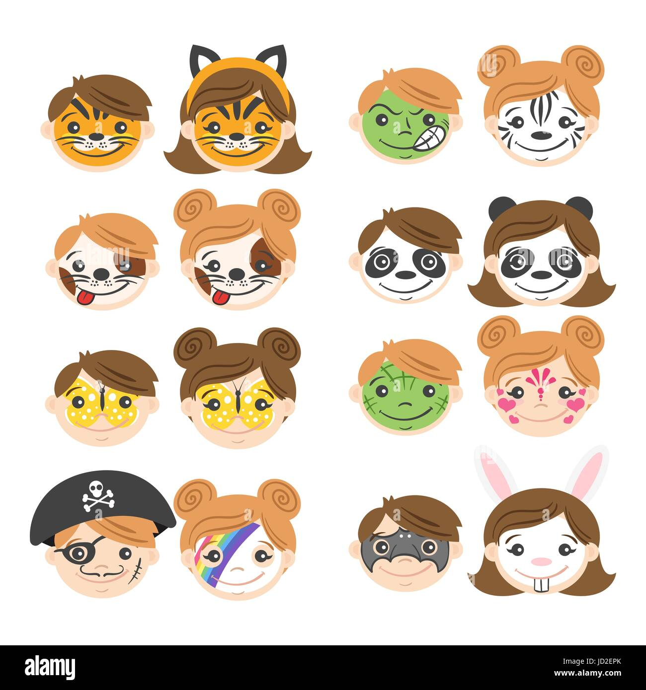 vector illustration of kids faces face painting for kids cartoon characters various kids masks - Cartoon Painting For Kids