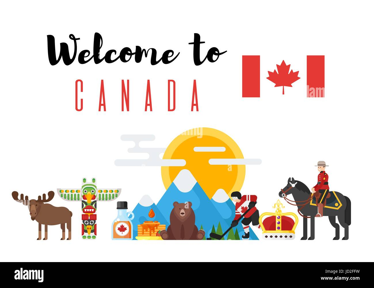 Vector flat style set of canadian national cultural symbols vector flat style set of canadian national cultural symbols welcome to canada template for banner or poster for tourist isolated on white background pronofoot35fo Gallery