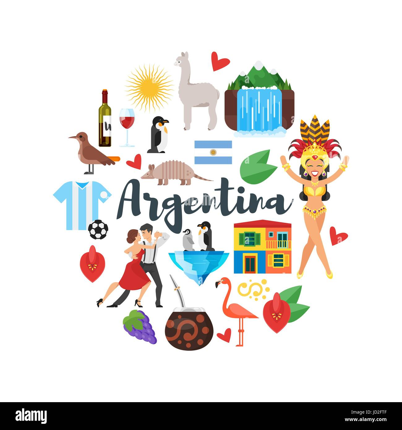 Vector flat style round composition of argentina national for Artistic argentinean cuisine