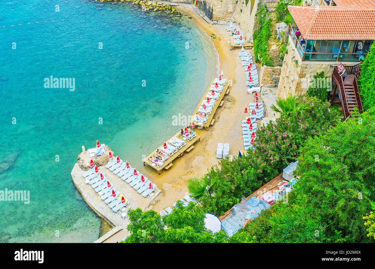 ANTALYA, TURKEY - MAY 6, 2017: Aerial view of Mermerli beach with ...