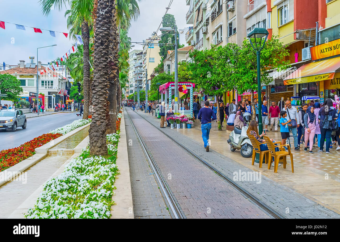 ANTALYA TURKEY MAY The Tram Line In Ataturk Avenue - Where is turkey located