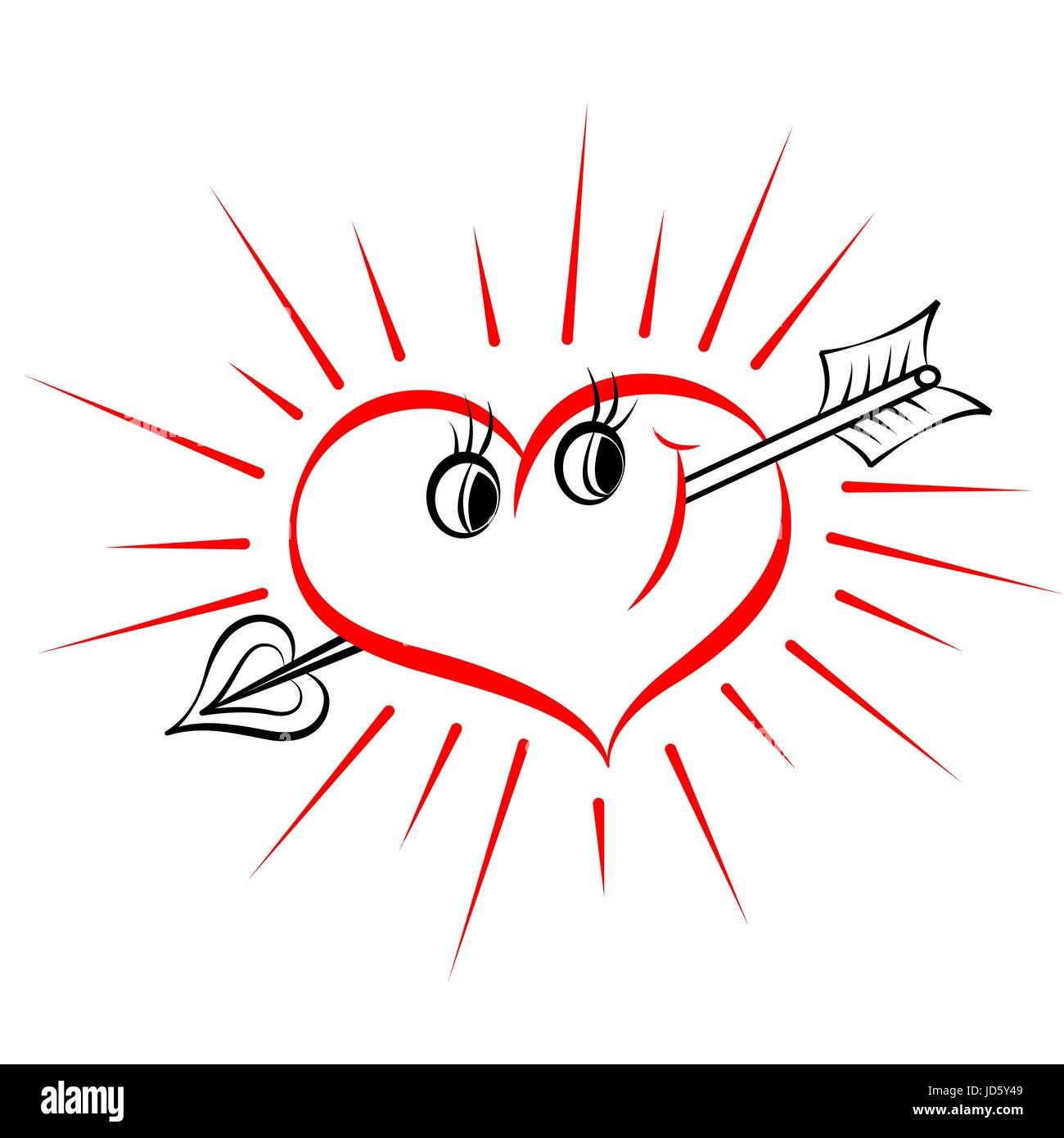 Love Heart Arrow Outline Drawing, Valentine Symbol