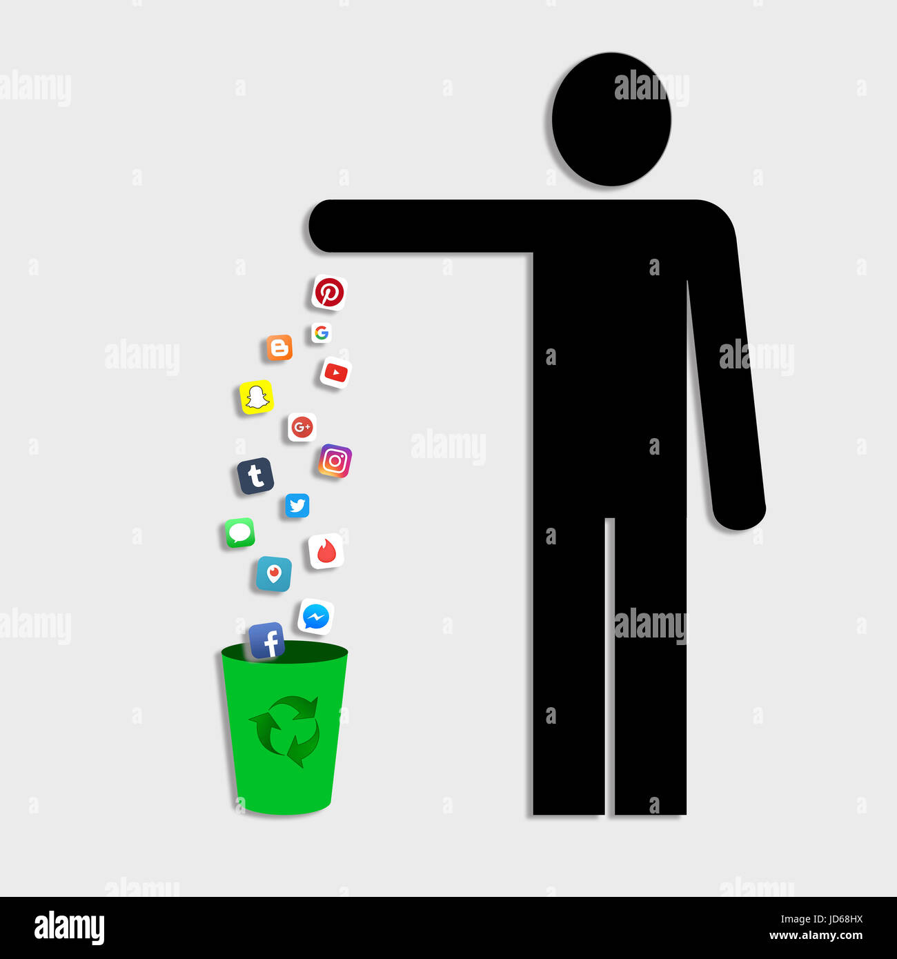 Man throwing social media applications like pinterest youtube man throwing social media applications like pinterest youtube messenger facebook to a trash bin concept of decluttering the digital life biocorpaavc Gallery