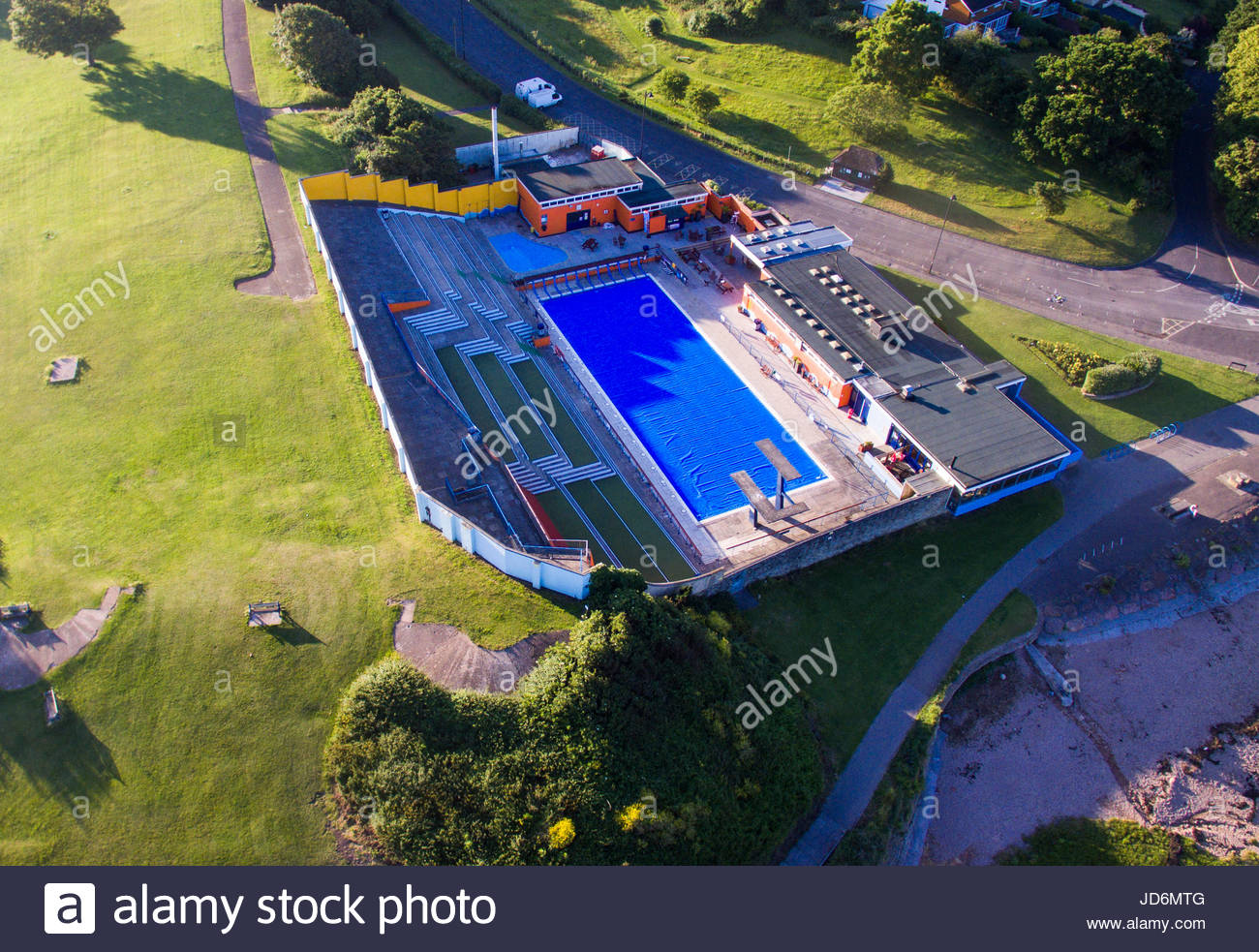 portishead, uk - june 18, 2017: the open air swimming pool and