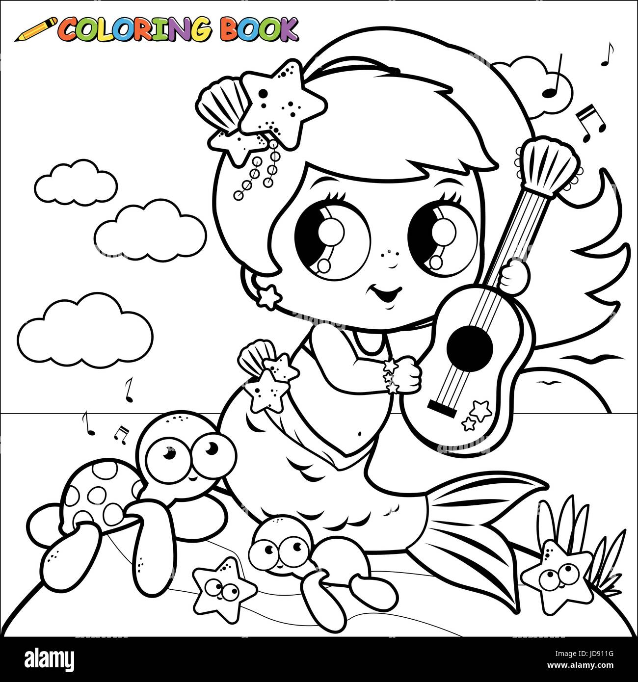 Cute mermaid by the sea playing music with her guitar. Coloring ...