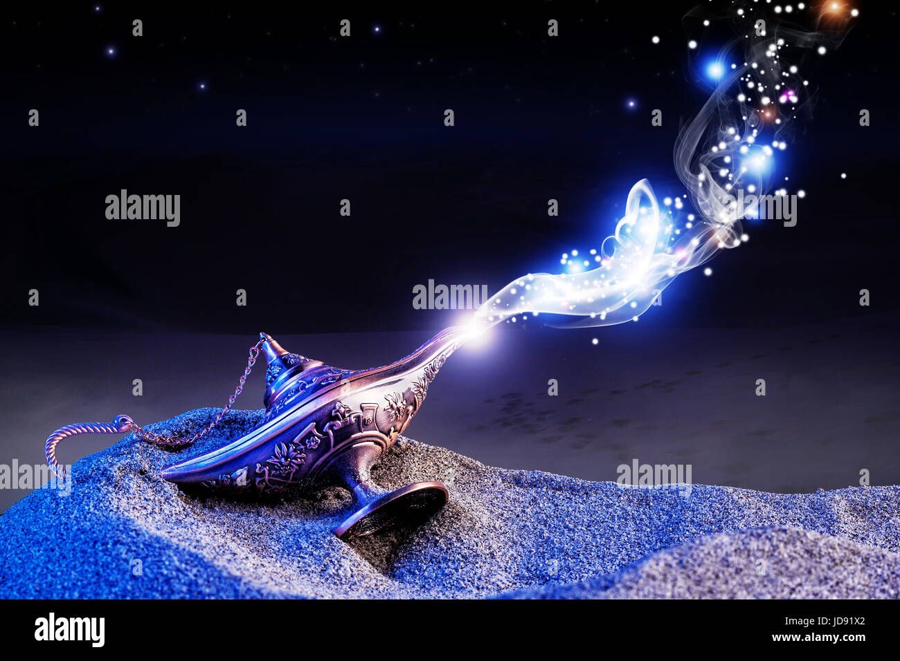 aladdin genie magic lamp on desert sand Stock Photo, Royalty Free ... for Magic Lamp With Smoke  104xkb