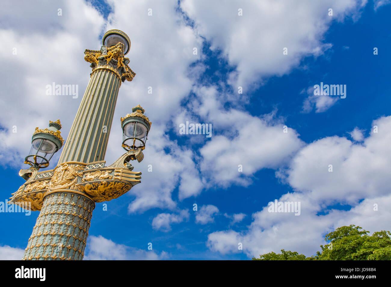 Detail Of Lamp Posts At Place De La Concorde In Paris, France