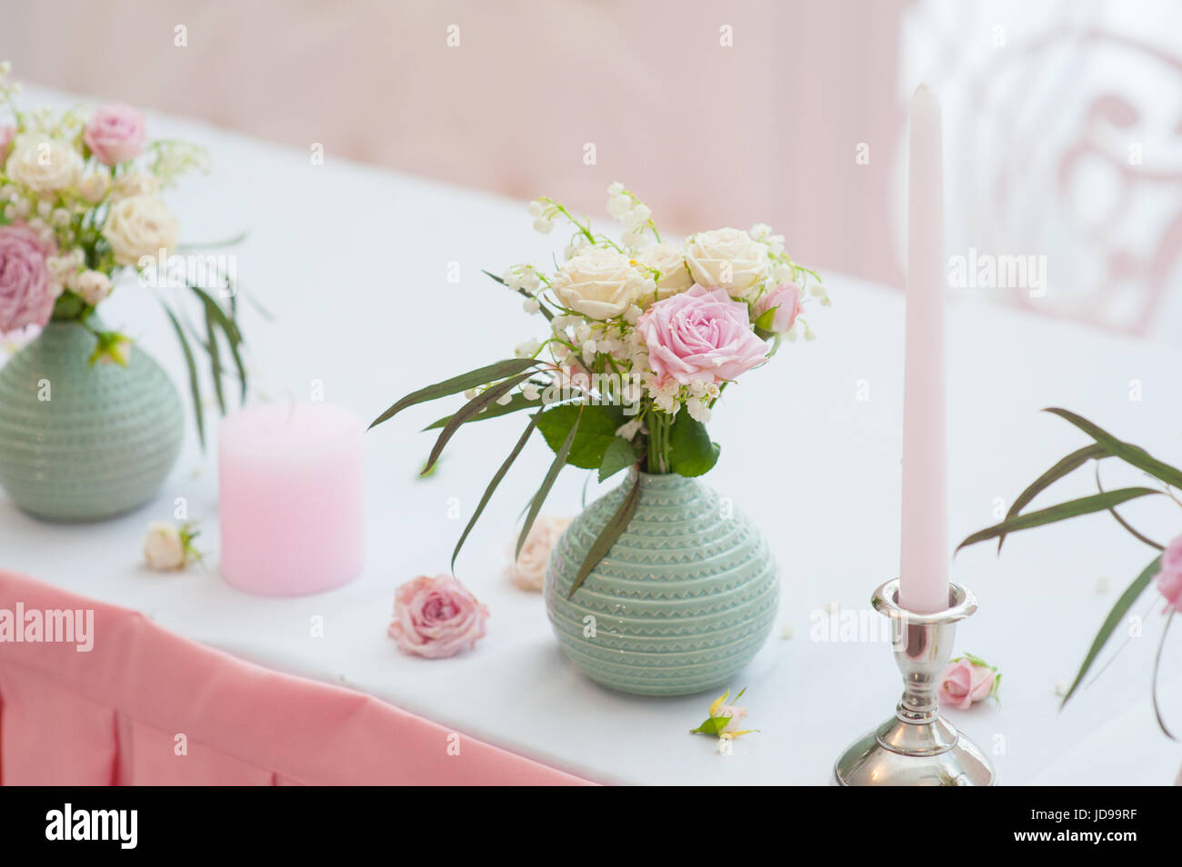 Wedding Festive Decor Bouquet From Spring Flowers Table Layout Of Newly Married Restaurant Interior