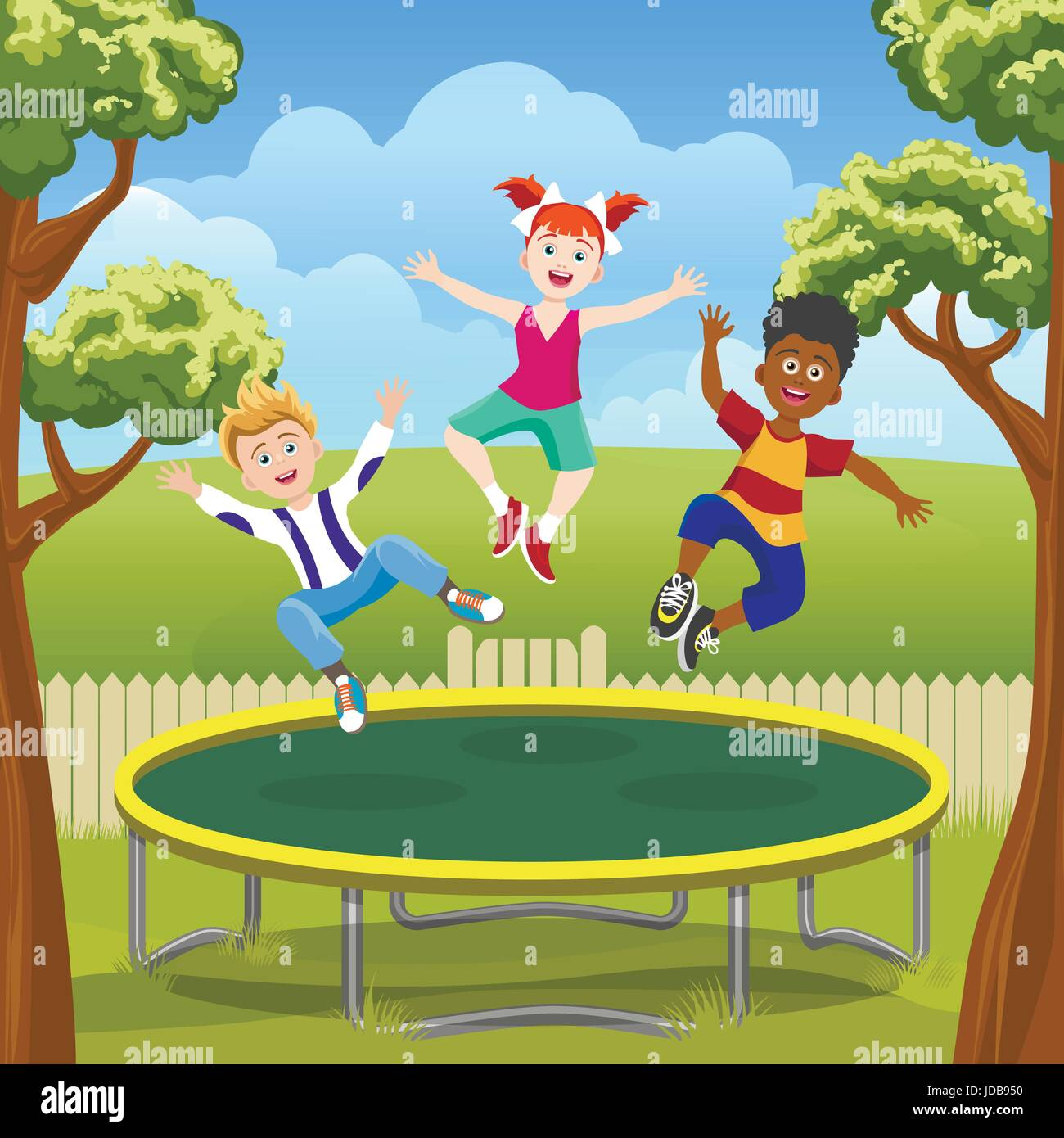 happy jumping kids on trampoline in backyard funny children on