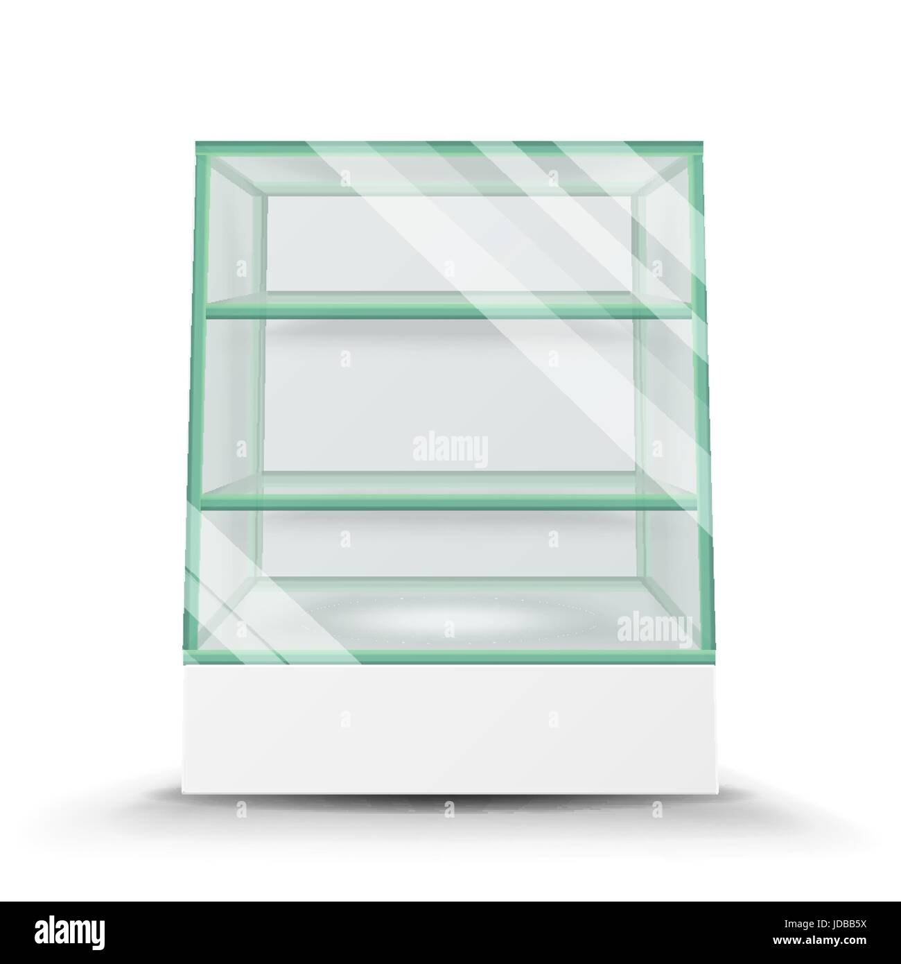 Empty Glass Cabinet Isolated On Transparent Background. Advertising Stand  Glass Vector. 3d Empty Glass Showcase For Exhibit