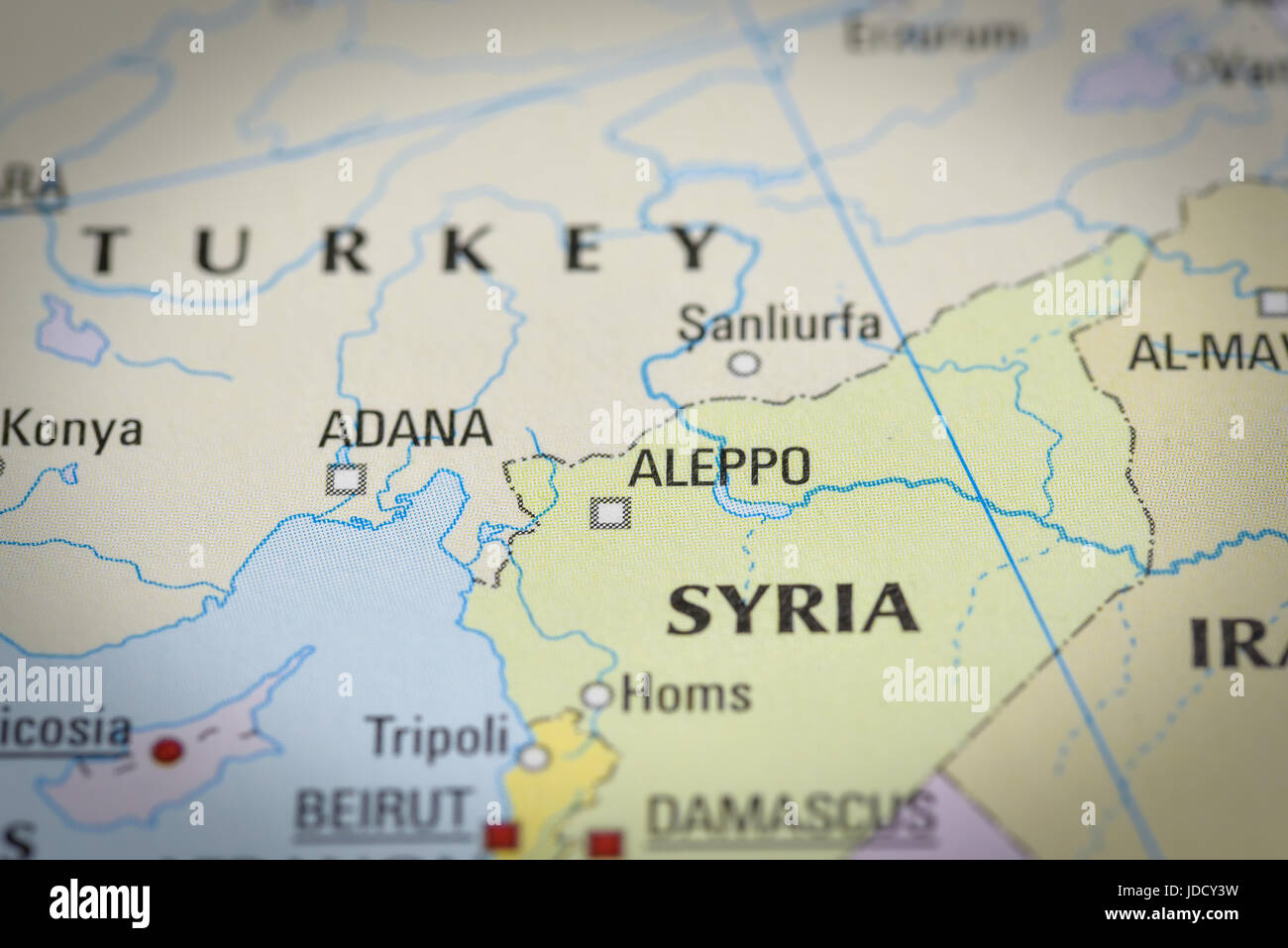 SyriaAleppo In Close Up On The Map Focus On The Name Of Country - Aleppo map