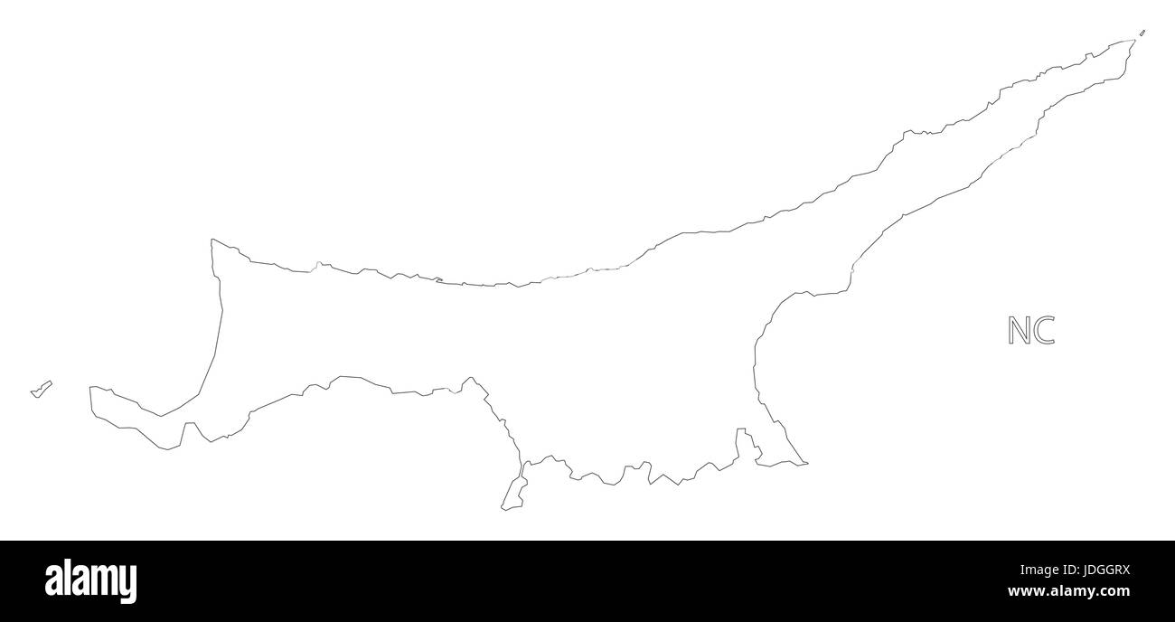 Northern Cyprus Outline Silhouette Map Illustration With Black - Northern cyprus map