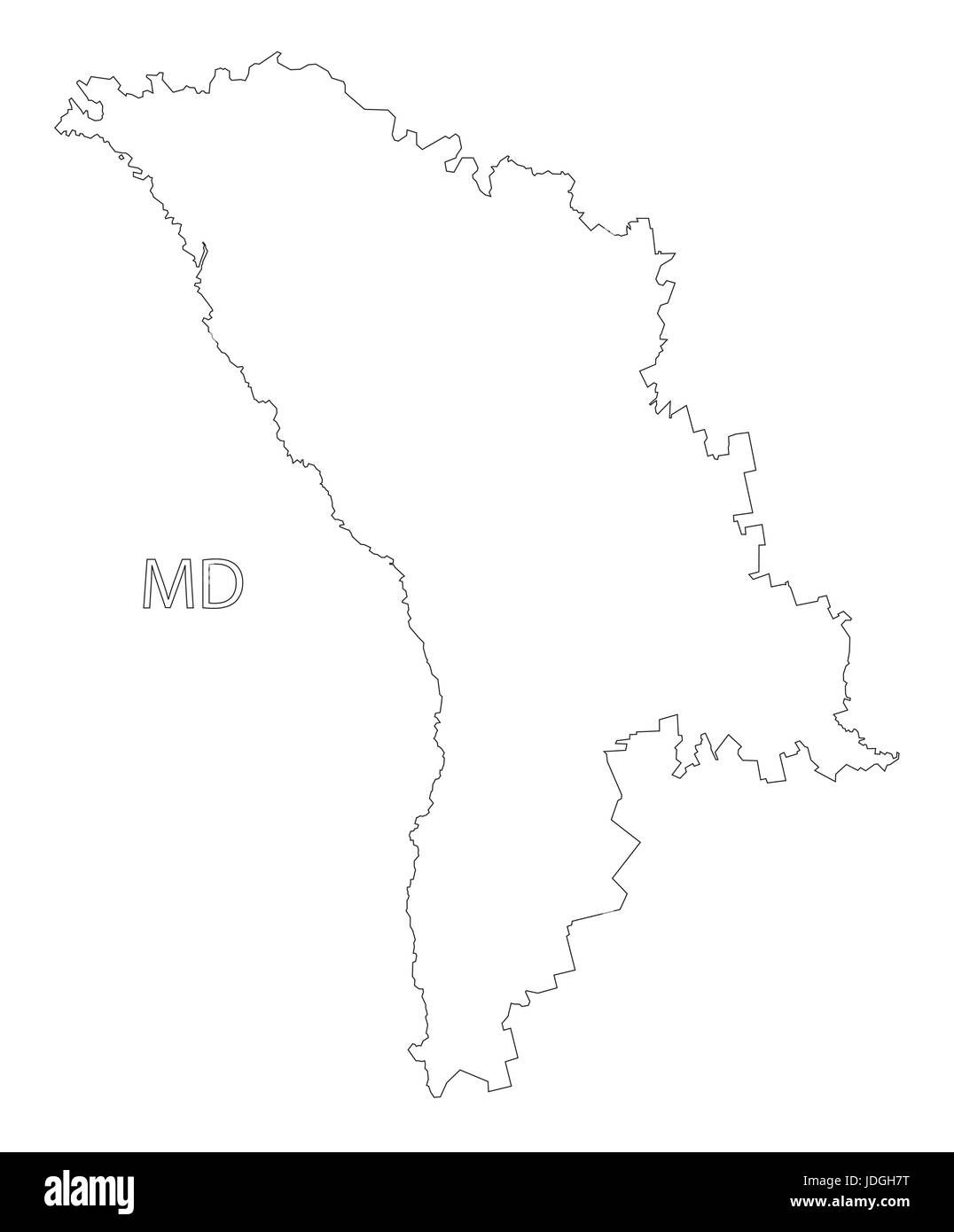 Moldova Outline Silhouette Map Illustration With Black Shape Stock - Moldova map vector