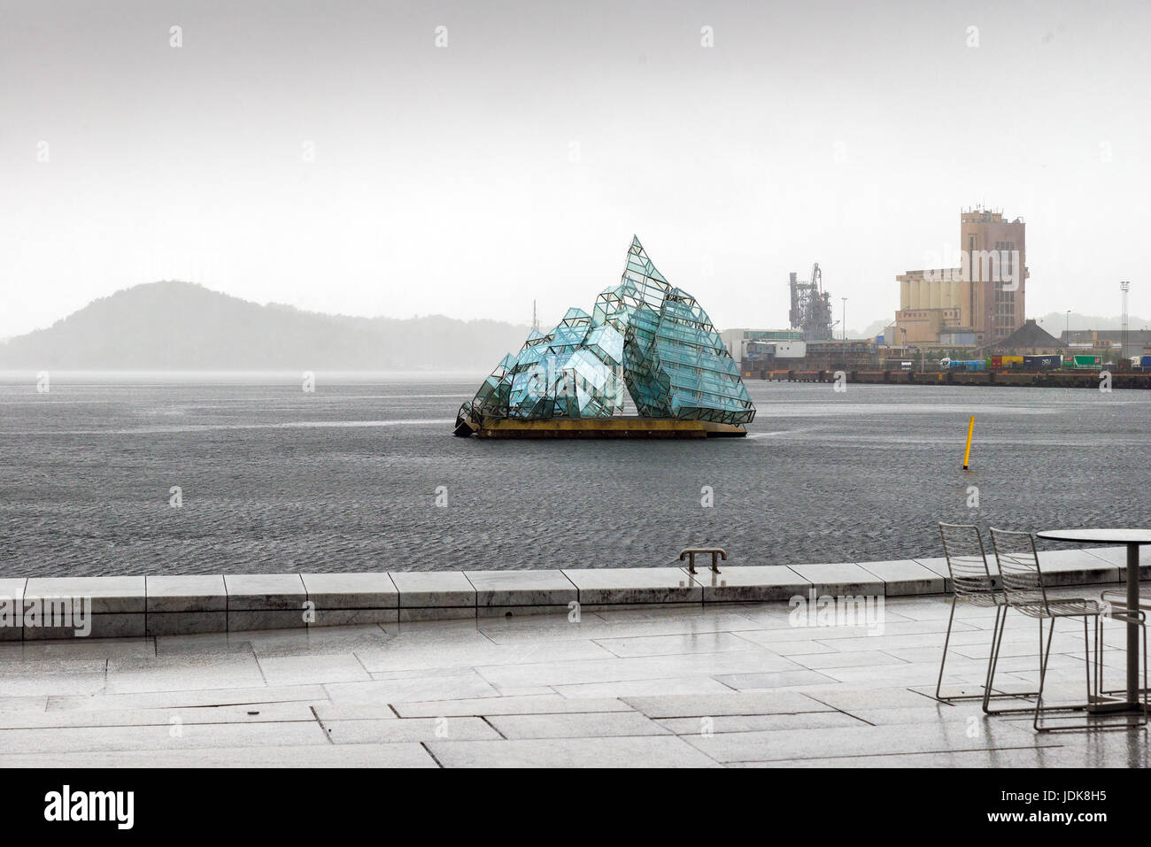 oslo, norway - june 7, 2017: the floating sculpture in front of