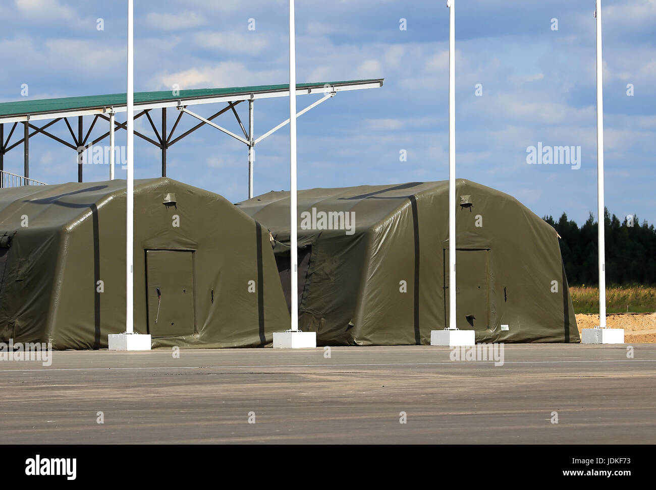 Tents for placement of personnel on military range & Tents for placement of personnel on military range Stock Photo ...