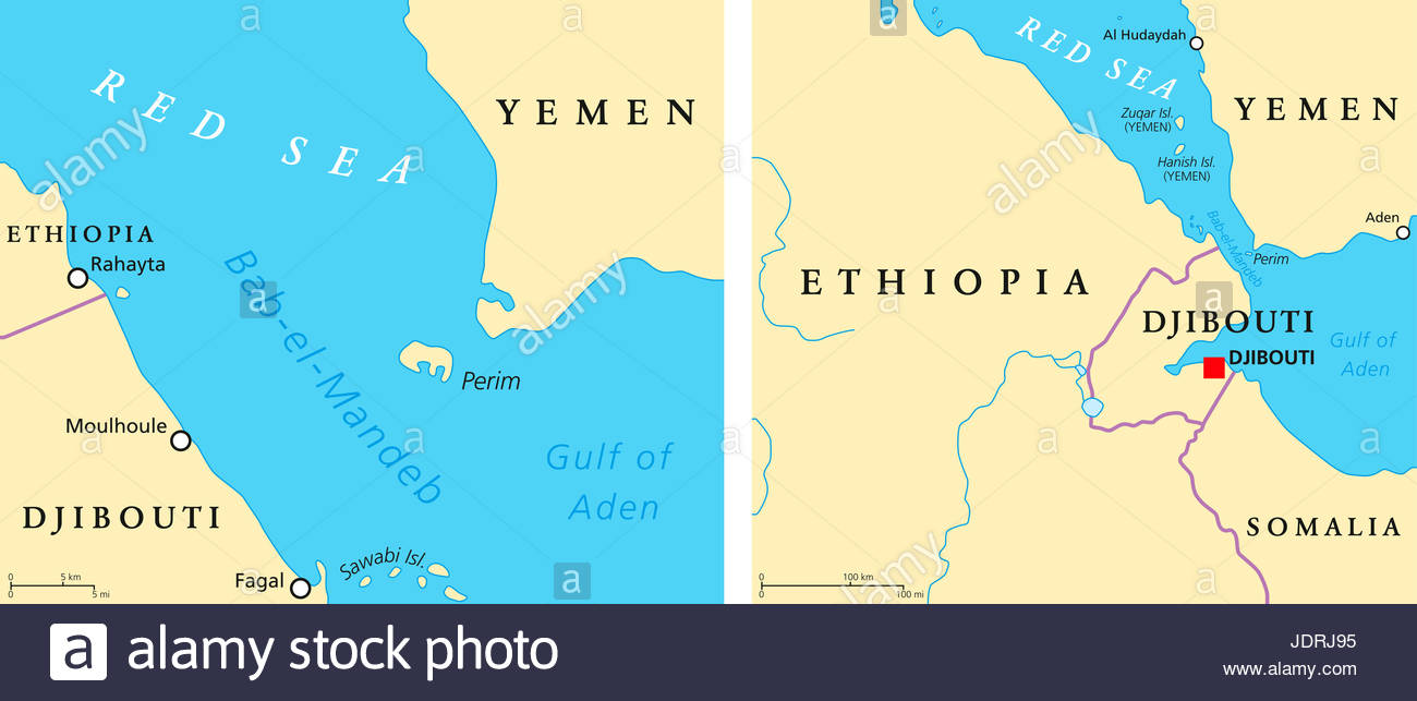 bab el mandeb political map strait between yemen on arabian stock  - bab el mandeb political map strait between yemen on arabian peninsula anddjibouti and eritrea on horn of africa connects red sea and gulf of aden
