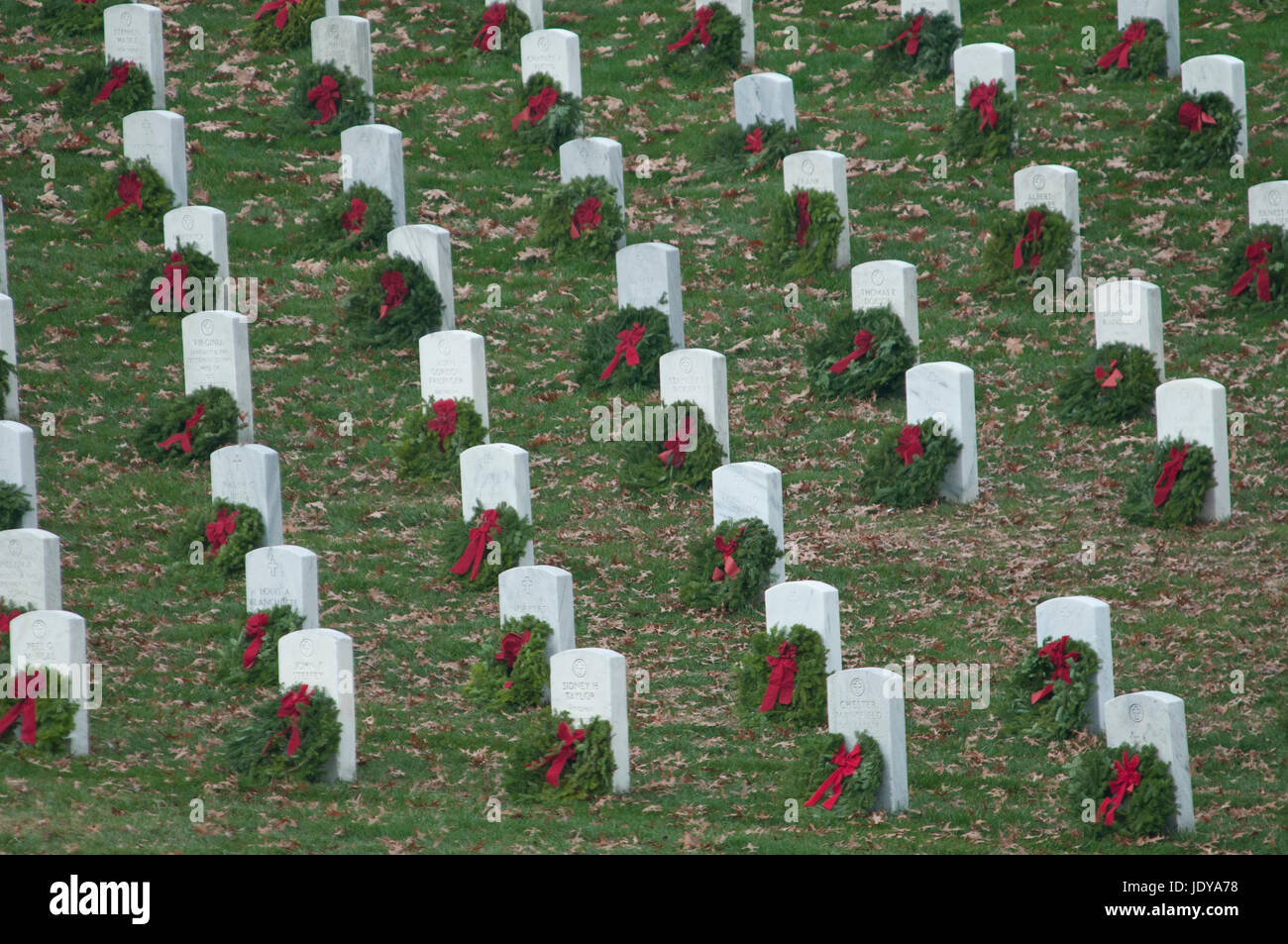 Of Wreaths A Line Of Tombstones With Christmas Wreats Part Of Wreaths Across