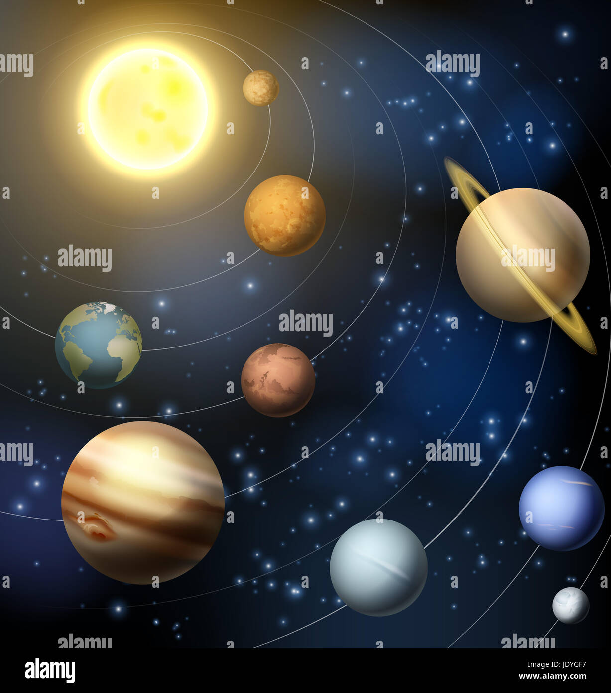 An illustration of the planets orbiting the sun in the ...