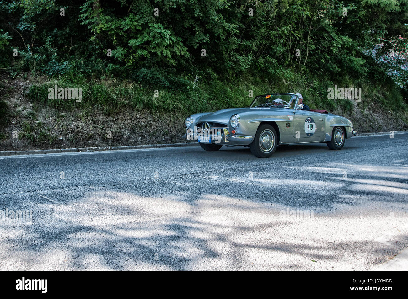 MERCEDES-BENZ 190 SL 1956 on an old racing car in rally Mille ...