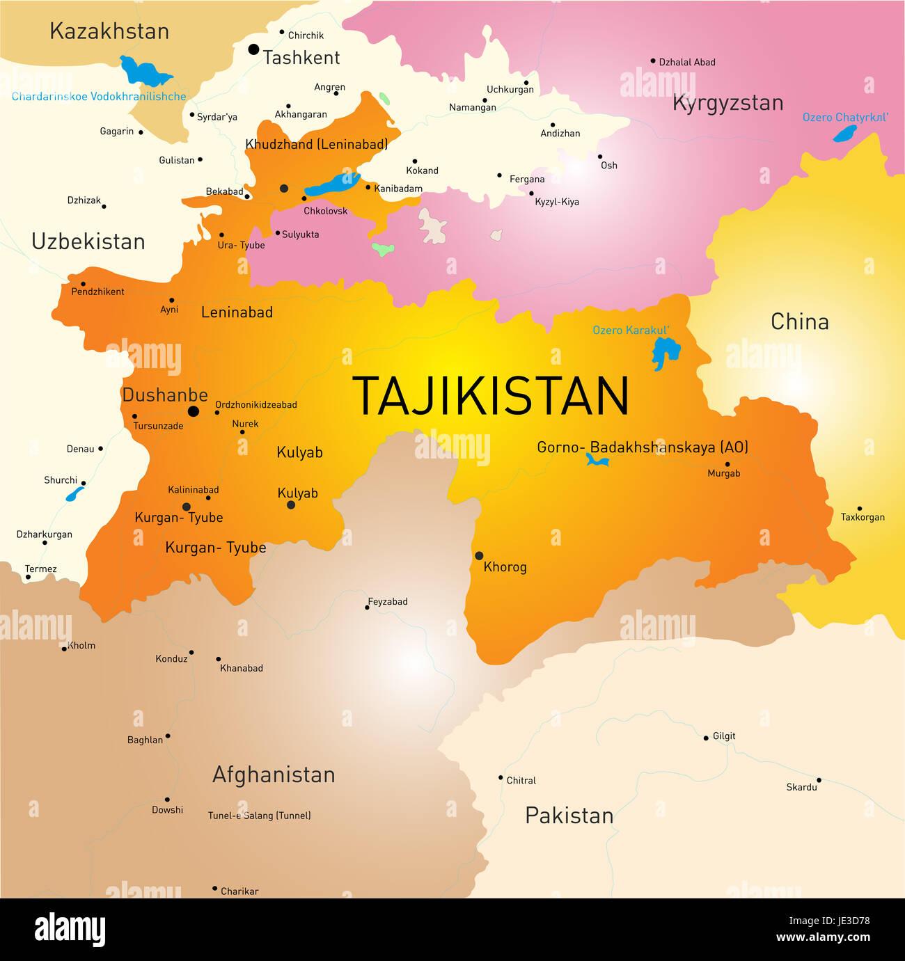Vector color map of Tajikistan Stock Photo 146364380 Alamy