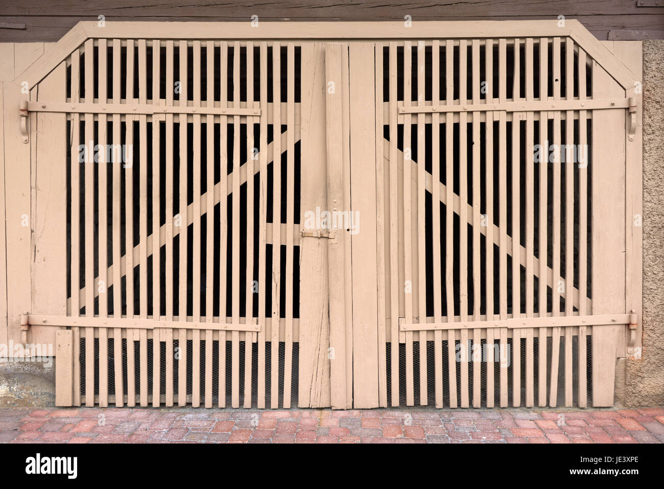Stock Photo - old light brown wooden door slats : door slats - Pezcame.Com
